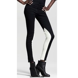 Rag & Bone black jeans with white leather panel